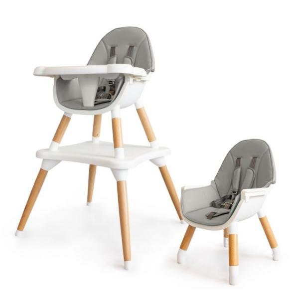 Eco toys Luxusní jídelní stoleček, křesílko  2v1, 2020- šedý, bílý