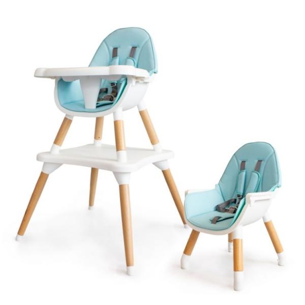 Eco toys Luxusní jídelní stoleček, křesílko  2v1, 2020- sv. modrý, bílý
