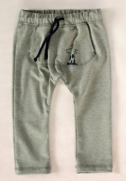 K-Baby Stylové dětské kalhoty, tepláky s klokankovou kapsou - šedé, vel. 80