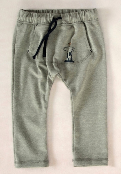 K-Baby Stylové dětské kalhoty, tepláky s klokankovou kapsou - šedé, vel. 98