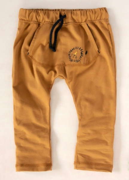 K-Baby Stylové dětské kalhoty, tepláky s klokankovou kapsou - hořčicové, vel. 98