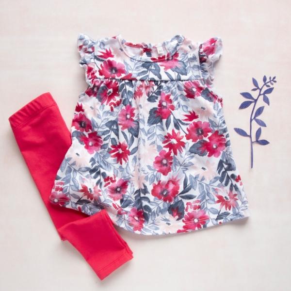 K-Baby Moderní tunika a legíny Květiny - červené