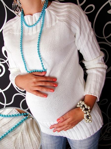 Těhotenský svetřík SELIN - bílá