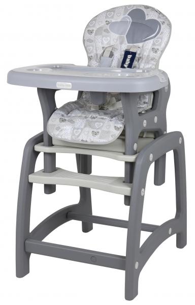 BABY MIX Jídelní židlička 2v1 - Srdce šedý