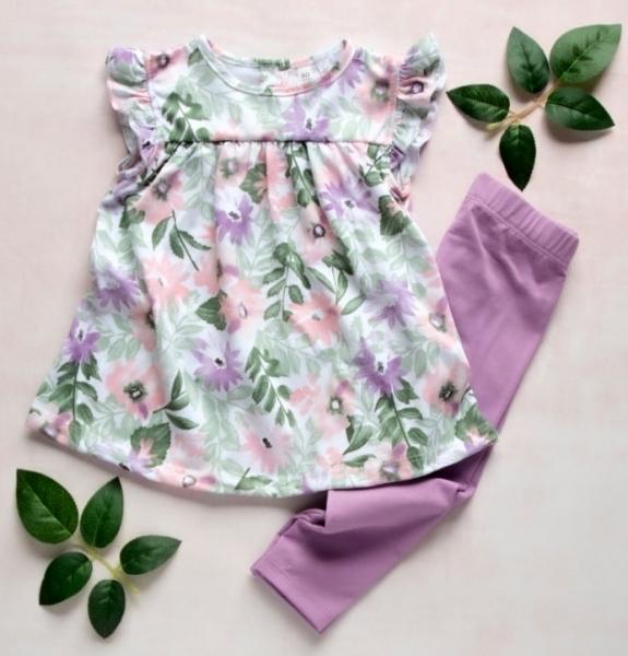 K-Baby Moderní tunika a legíny Lila květiny