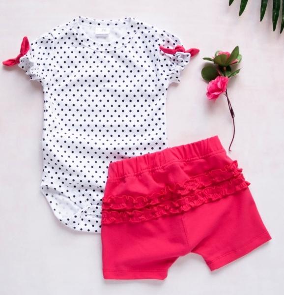 K-Baby 2 dílná dětská sada, body s kraťasky For Girl - puntík, malinové