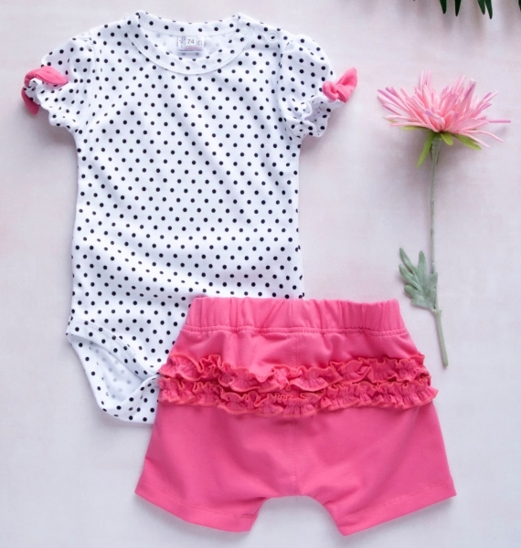 K-Baby 2 dílná dětská sada, body s kraťasky For Girl - puntík, růžové