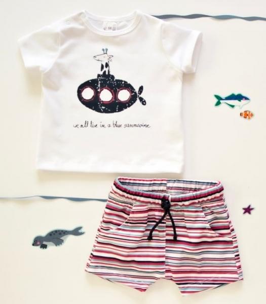 K-Baby 2 dílná dětská sada, triko s kraťasky For Boy - proužky červené, modré, vel. 92