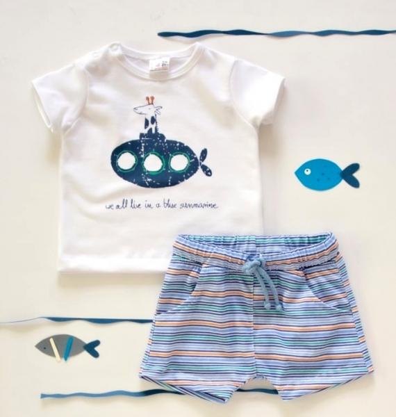 K-Baby 2 dílná dětská sada, triko s kraťasky For Boy - proužky modré, zelené, vel. 74