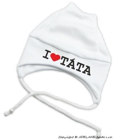 Čepička KOLEKCE I LOVE TÁTA na šnurku - bílá - Kolekce: I LOVE