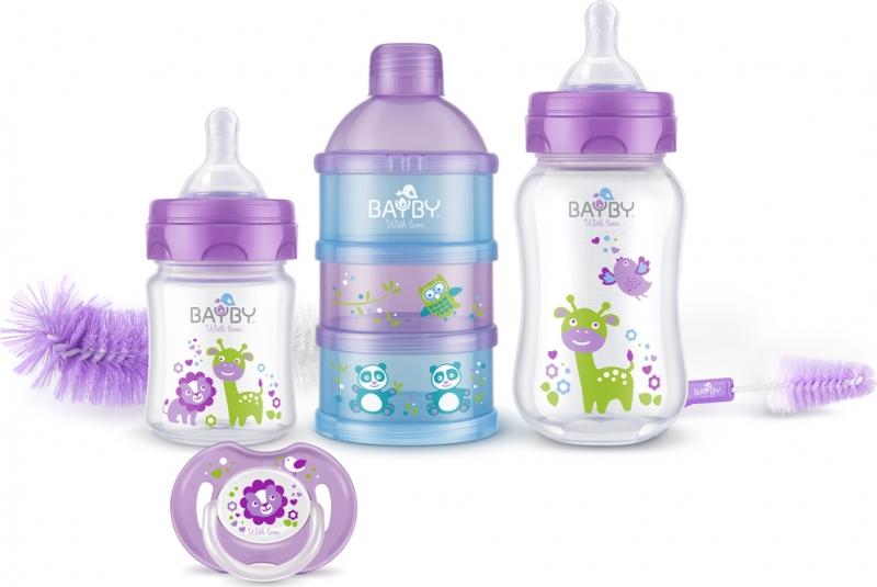 Bayby, Dárková sada pro novorozence 6v1 -  0m+, fialová