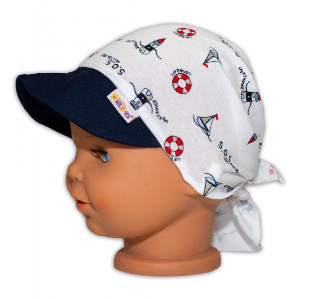 Baby Nellys Šátek na zavazování s kšiltem - Maják, vel. 46-48