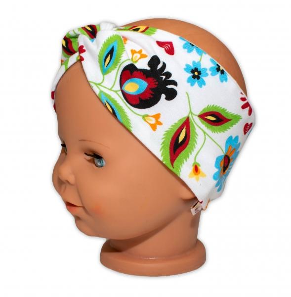 Baby Nellys Hand Made Bavlněná čelenka - dvouvrstvá, Louka - růžovo/bílá