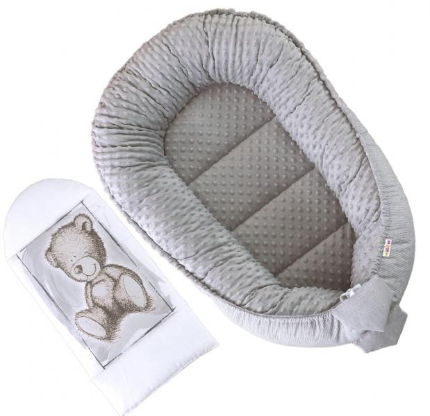 Oboustranné hnízdečko, kokon Baby Nellys Teddy Minky 80x45x15cm - šedé