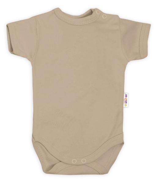 Baby Nellys Bavlněné body krátký rukáv - béžová