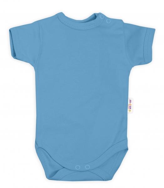 Baby Nellys Bavlněné body krátký rukáv - modré, jeans, Velikost: 62 (2-3m)