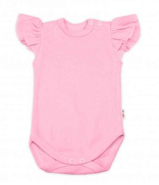 Baby Nellys Bavlněné body Nikolka, krátký rukáv s volánkem - sv. růžové
