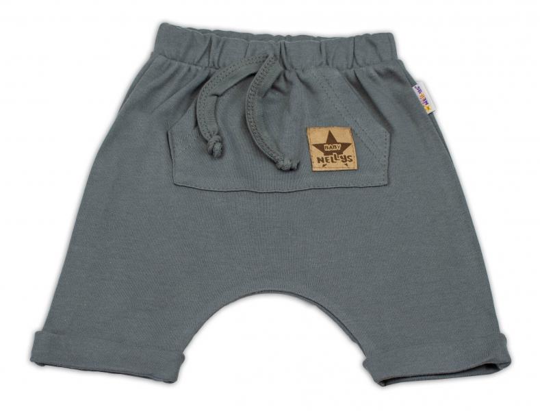Baby Nellys Bavlněné kraťasy Baggy s klokaní kapsou - šedé, vel. 98, Velikost: 98 (24-36m)