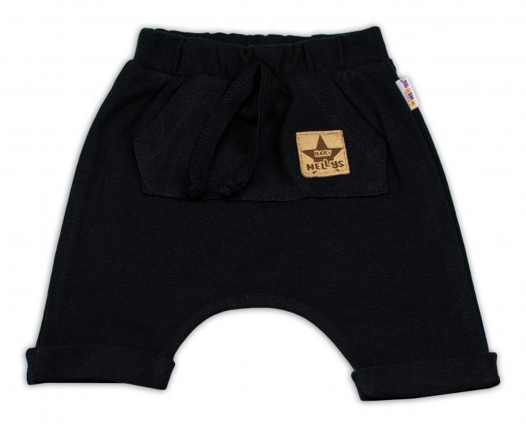 Baby Nellys Bavlněné kraťasy Baggy s klokaní kapsou - černé, vel. 86, Velikost: 86 (12-18m)