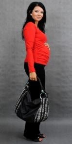 Be MaaMaa Těhotenské triko ELLIS - červená, vel. L/XL