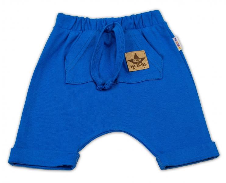 Baby Nellys Bavlněné kraťasy Baggy s klokaní kapsou - modré, vel. 104, Velikost: 104