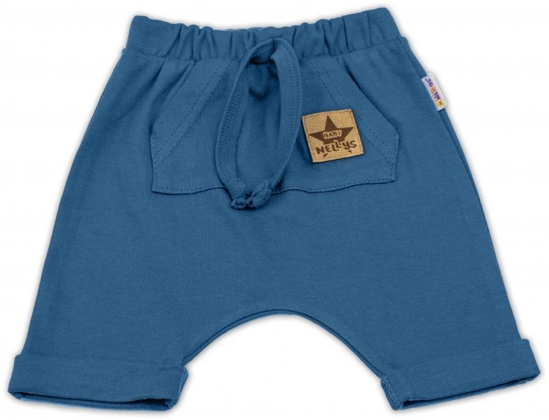 Baby Nellys Bavlněné kraťasy Baggy s klokaní kapsou - navy, vel. 104, Velikost: 104