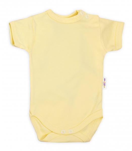 Baby Nellys Bavlněné body krátký rukáv - žluté, vel. 74