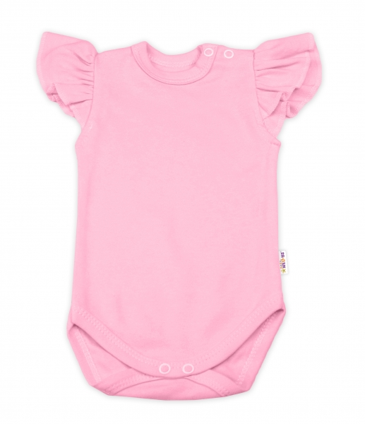 Baby Nellys Bavlněné body Nikolka, krátký rukáv s volánkem - sv. růžové, vel. 74