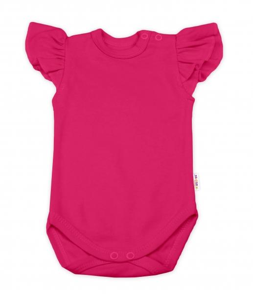 Baby Nellys Bavlněné body Nikolka, krátký rukáv s volánkem - tm. růžové, vel. 74