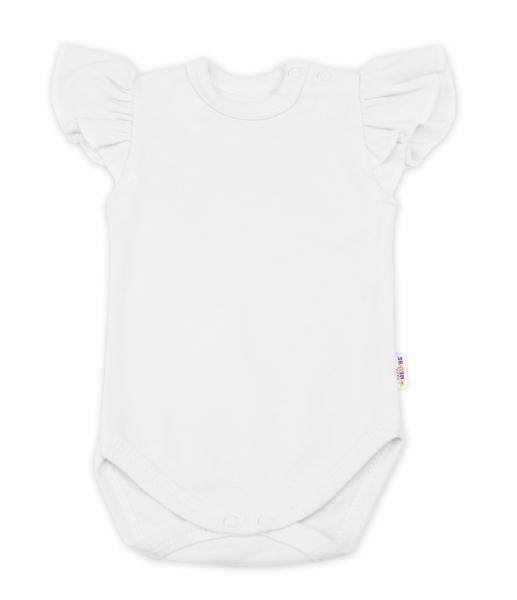 Baby Nellys Bavlněné body Nikolka, krátký rukáv s volánkem - smetanové, vel. 80, Velikost: 80 (9-12m)