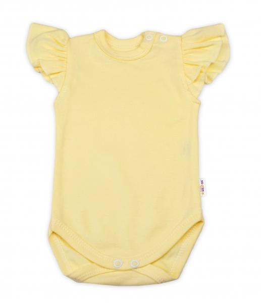 Baby Nellys Bavlněné body Nikolka, krátký rukáv s volánkem - žluté, vel. 68