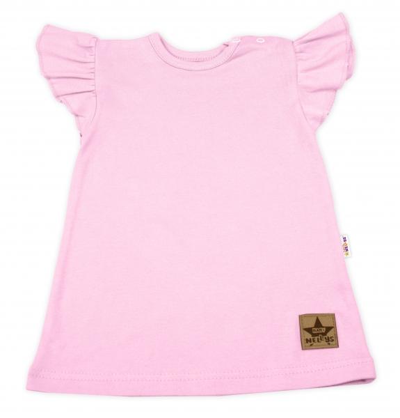 Baby Nellys Bavlněné šaty Nikolka s volánkem, krátký rukáv - sv. růžové, vel. 104
