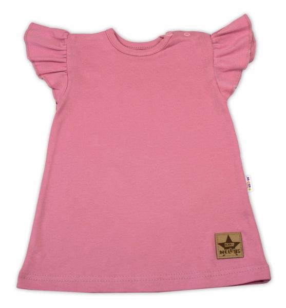Baby Nellys Bavlněné šaty Nikolka s volánkem, krátký rukáv - starorůžové, vel. 98