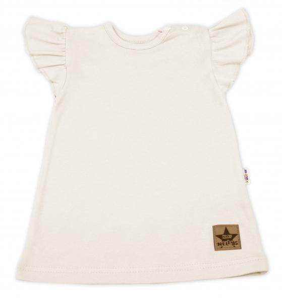 Baby Nellys Bavlněné šaty Nikolka s volánkem, krátký rukáv - smetanové, vel. 98