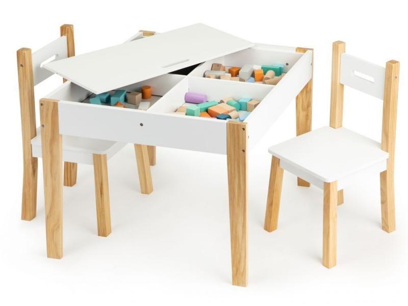 ECO TOYS  Dětský nábytek, přírodní, bílá, s tabulí, a uložným prostorem