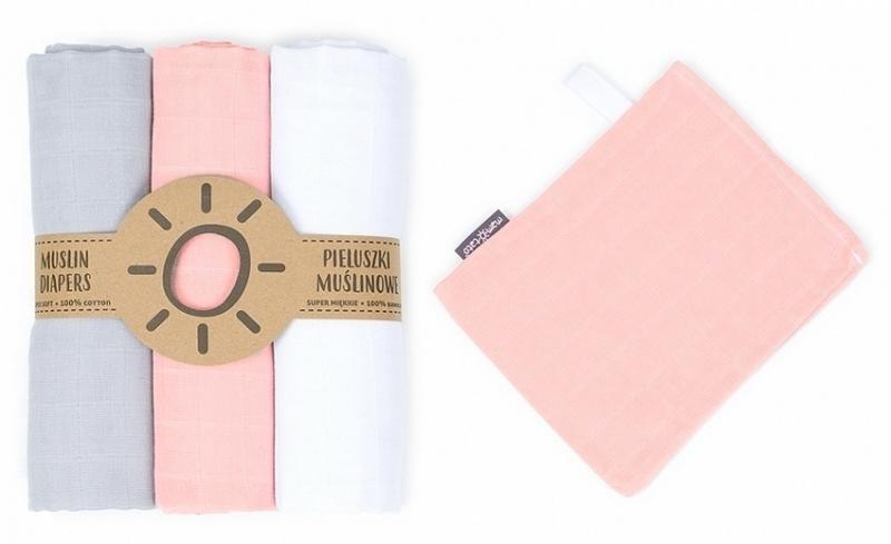 Mamo Tato Mušelínové plenky 3ks + žínka zdarma - bílá, šedá, růžová