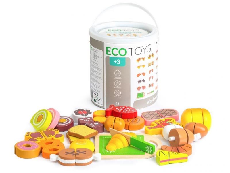 Dřevěné potraviny v kyblíku ECO TOYS - 23 kusů