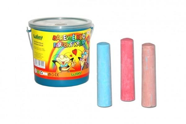 Barevné křídy chodníkové 10,5cm asst 7 barev 15ks v kbelíku