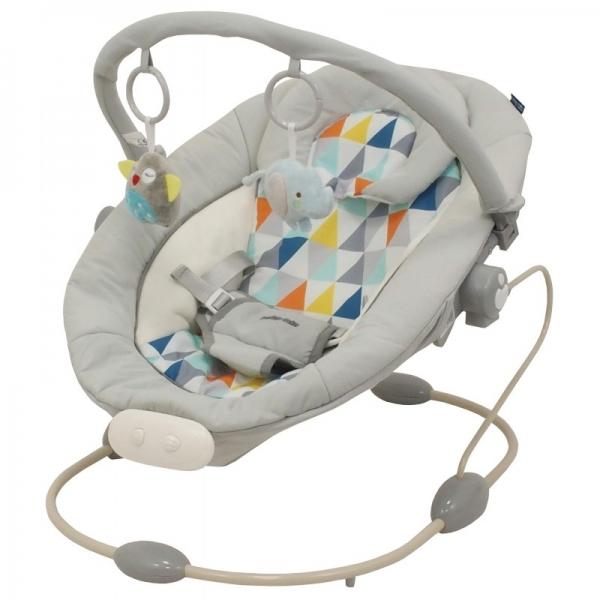 BABY MIX Lehátko pro kojence  s vibrací a hudbou - Šedý - mozaika.
