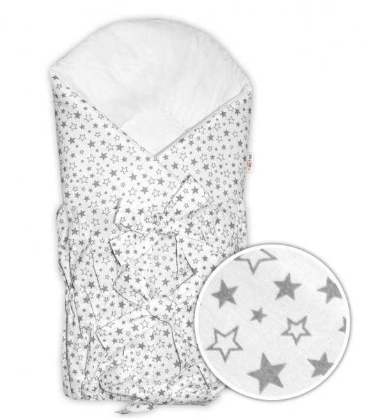 Baby Nellys Klasická retro šněrovací zavinovačka Galaxie hvězd - bílá/šedá