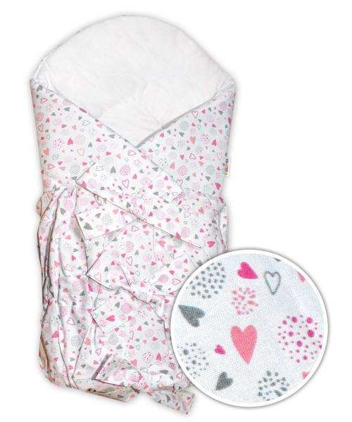 Baby Nellys Klasická retro šněrovací zavinovačka Mini Hearts - růžová