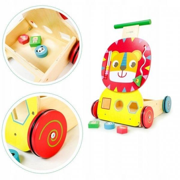 Edukační dřevěné chodítko Eco Toys - LVÍČEK