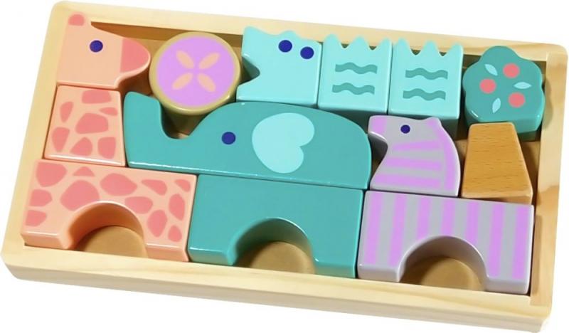 Dřevěné skládací kostky - zvířátka, 13 dílků