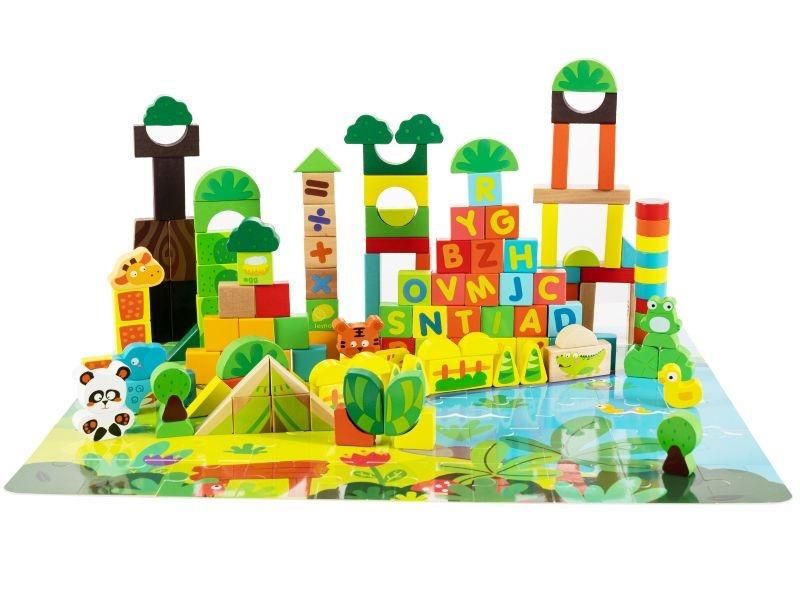 Dřevěné  kostky + puzzle podložka, 198 dílů