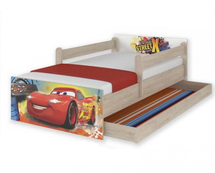 """BabyBoo Dětská junior postel Disney 200x90cm MAX XXL """"CARS"""""""