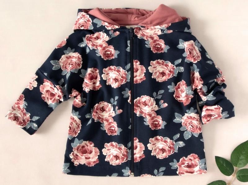 K-Baby Dětská mikina, bunda s kapucí, Růže, starorůžová, tm. modrá, vel. 86
