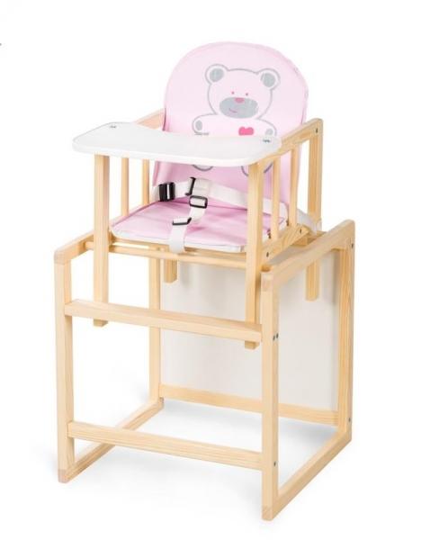 Klups Dřevěný jídelní stoleček Anežka C4 Borovice - Medvídek růžový