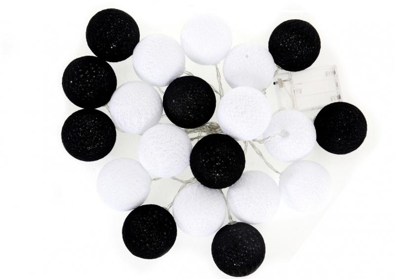 Cotton Balls - svítící koule, černá/bílá, 35ks
