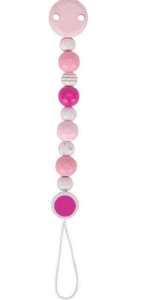 Goki Dřevěný řetízek na dudlík 16 cm - Růžovo-bílý