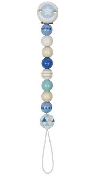 Goki Dřevěný řetízek na dudlík 17 cm - Hvězdička, modro-bílá